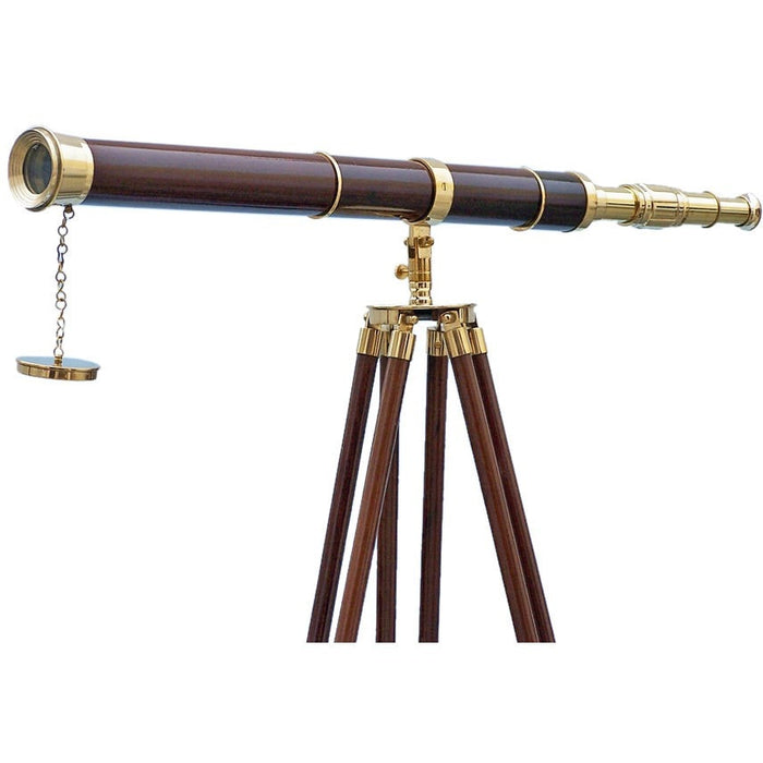 Handcrafted Nautical Decor - Admirals Floor Standing Brass with Wood Telescope 60 inch - My Parlor Room