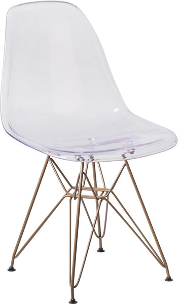 Flash Furniture - GHOST CHAIR WITH GOLD METAL BASE - My Parlor Room