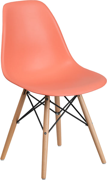 Flash Furniture - ELON SERIES PEACH CHAIR WITH WOOD BASE - My Parlor Room