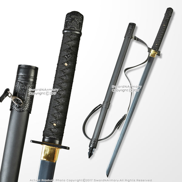MPRS - Shinobi Ninja Sword Hand Honed Sharp Edge Black Blade with Back Carrying Strap - My Parlor Room