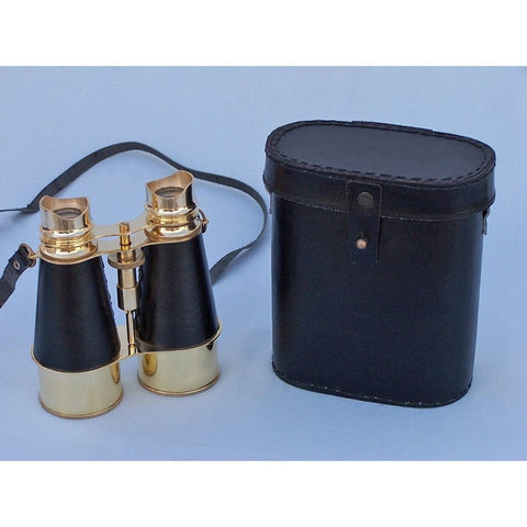 Handcrafted Nautical Decor - Admirals Brass Binoculars with Leather Case 6 inch - My Parlor Room