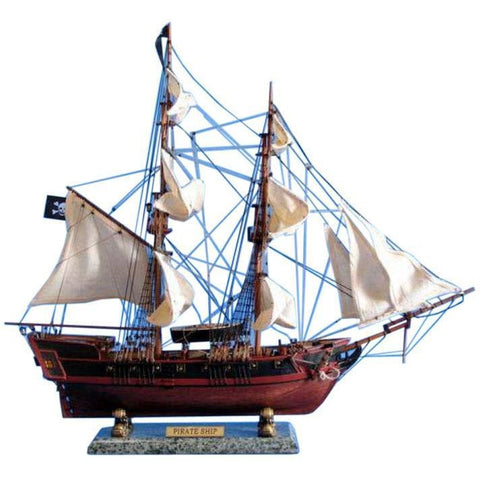 Model Ships - Wooden Caribbean Pirate Ship Model 26 Inch White Sails