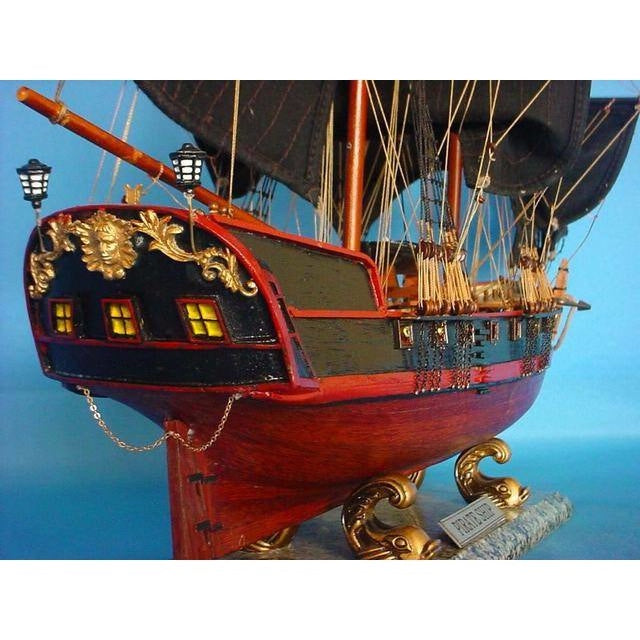 Handcrafted Nautical Decor Wooden Caribbean Pirate Ship