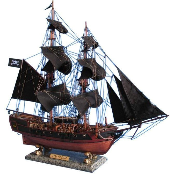 Wooden Caribbean Pirate Ship Model Limited 26 inch Black Sails
