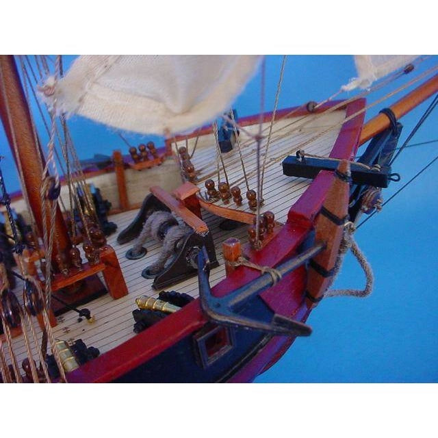 Model Ships - Wooden Caribbean Pirate Ship Model Limited 26 Inch Black Sails