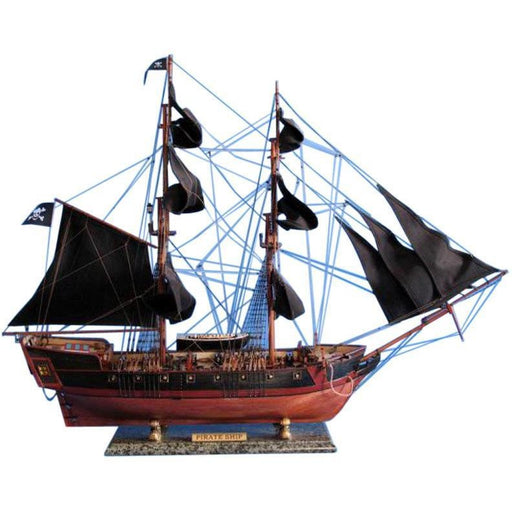 Model Ships - Wooden Caribbean Pirate Ship Model Limited 37 Inch Black Sails