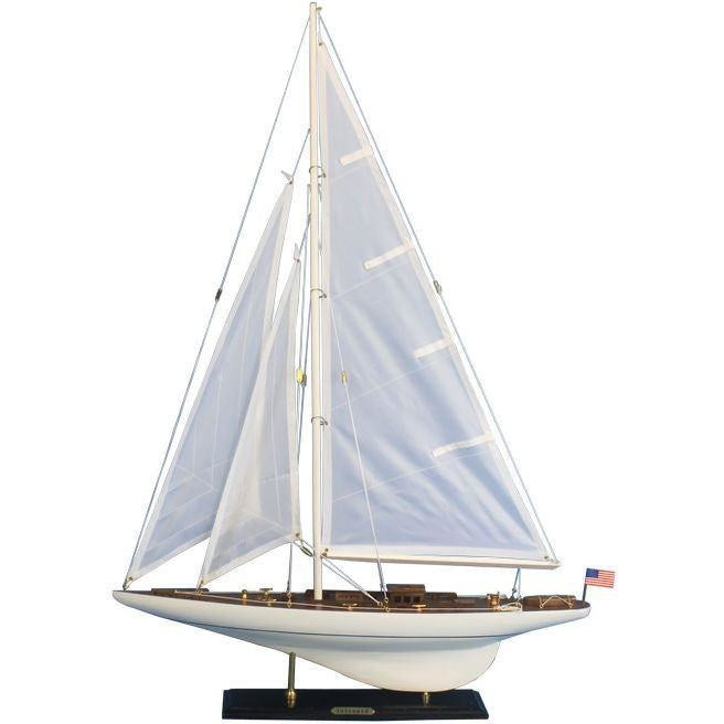 Model Ships - Wooden Intrepid Model Sailbaot Decoration 35 Inch