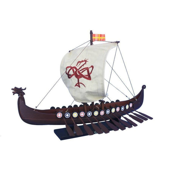 My Parlor Room - Wooden Viking Drakkar with Embroidered Serpent Model Boat Limited 24 inch - My Parlor Room