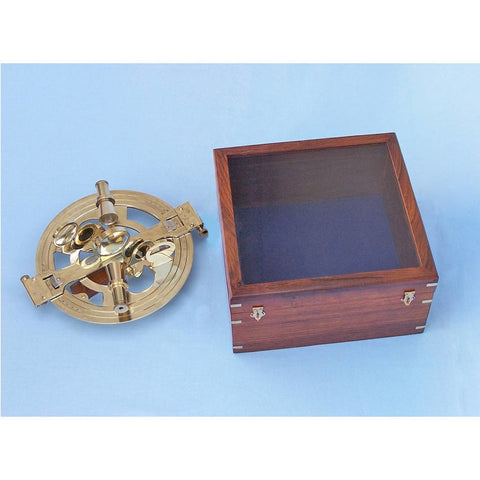 Nautical Level - Round Sextant With Rosewood Box 10 Inches