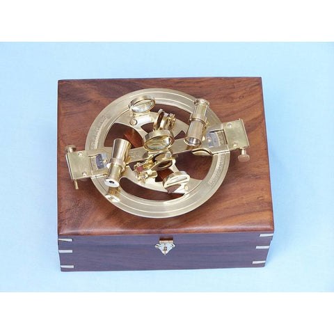 Nautical Level - Round Sextant With Rosewood Box 8 Inches