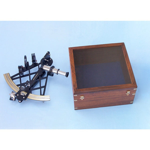 My Parlor Room - Black Micrometer Sextant with Rosewood Box 14 inch - My Parlor Room