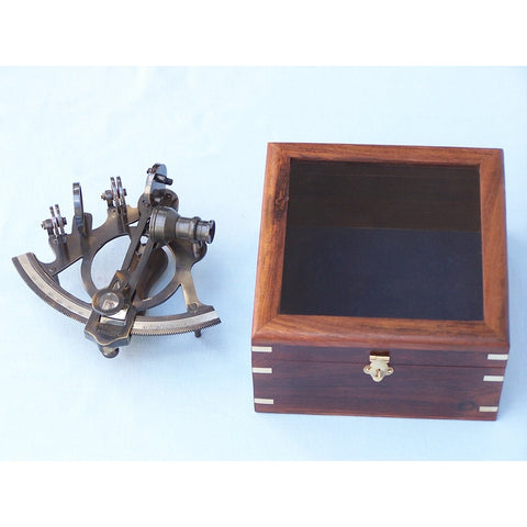 Handcrafted Nautical Decor - Antique Brass Sextant 7 inches with Rosewood Box - My Parlor Room
