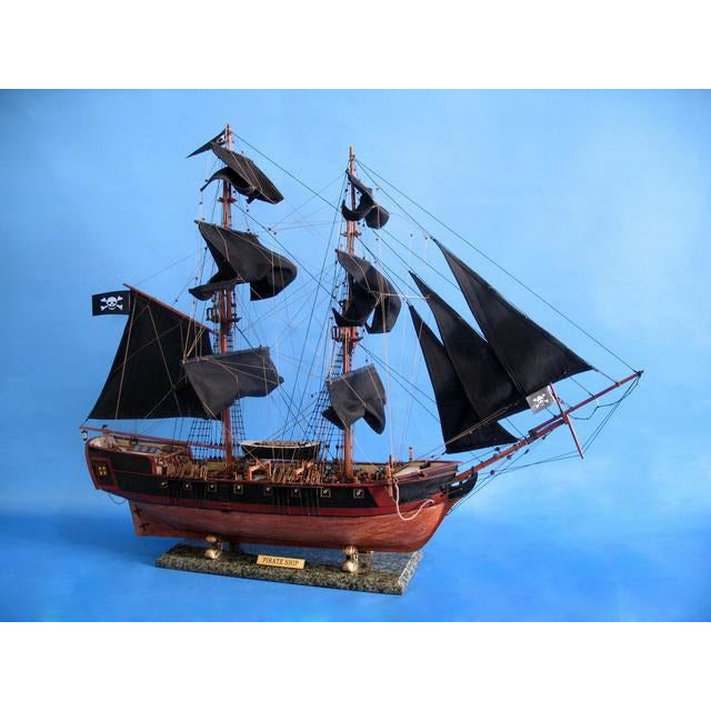 Handcrafted Nautical Decor - Wooden Caribbean Pirate Ship Model Limited 37 inch Black Sails - My Parlor Room