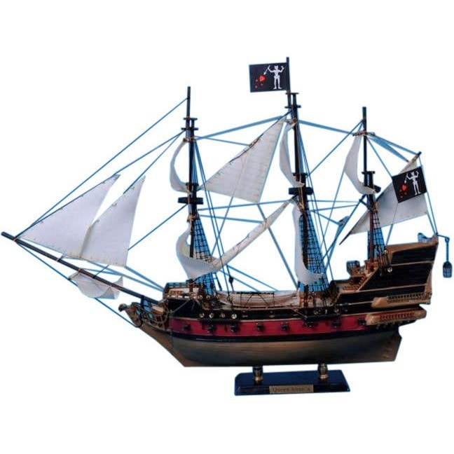 Handcrafted Nautical Decor - Blackbeard's Queen Anne's Revenge Model Pirate Ship 24 inch White Sails - My Parlor Room