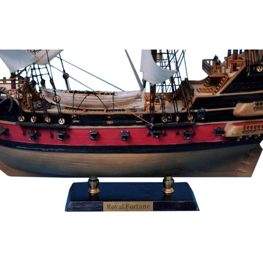 Handcrafted Nautical Decor - Black Bart's Royal Fortune Model Pirate Ship 24 inch White Sails - My Parlor Room