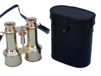 My Parlor Room - Commanders Brass Binoculars with Leather Case 6 inch - My Parlor Room