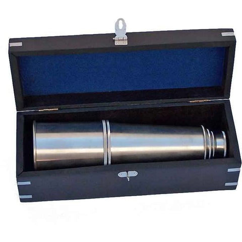 Spyglass - Deluxe Class Brushed Nickel Admirals Spyglass Telescope 27 Inch With Rosewood Box