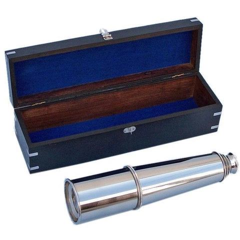 Spyglass - Deluxe Class Hampton Collection Chrome Spyglass With Black Rosewood Box 36 Inches