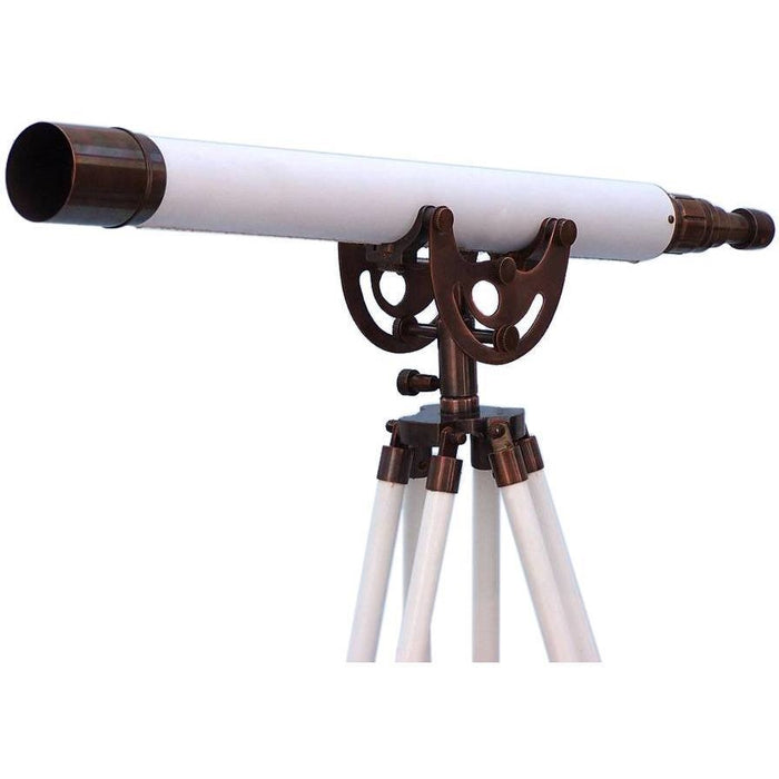 Telescopes - Floor Standing Antique Copper With White Leather Anchormaster Telescope 50 Inches