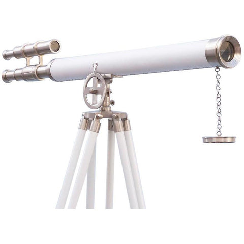 Telescopes - Floor Standing Brushed Nickel With White Leather Griffith Astro Telescope 65 Inch