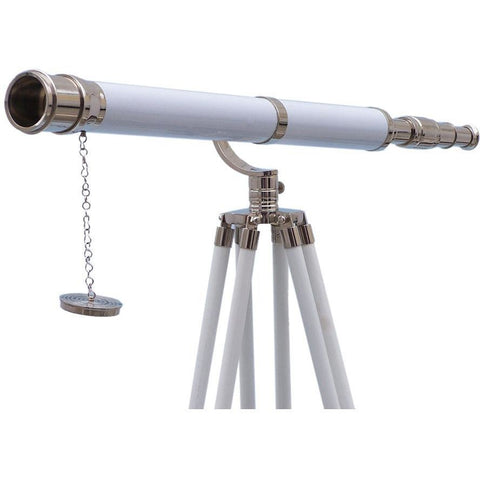 Telescopes - Floor Standing Chrome/White Leather Galileo Telescope 65 Inch