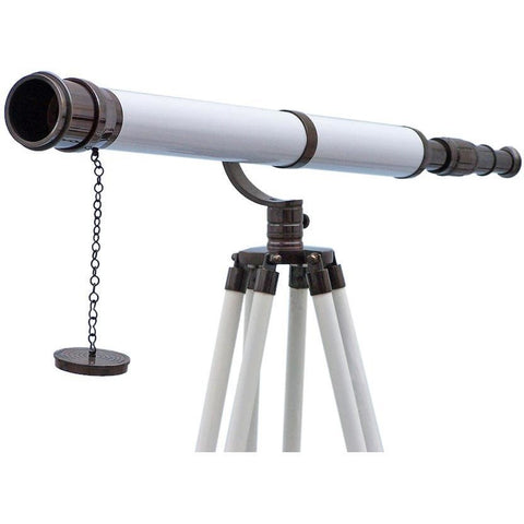 Telescopes - Floor Standing Oil Rubbed Bronze/White Leather Galileo Telescope 65 Inch
