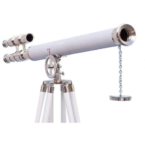 Telescopes - Hampton Collection Chrome With White Leather Griffith Astro Telescope 64 Inches