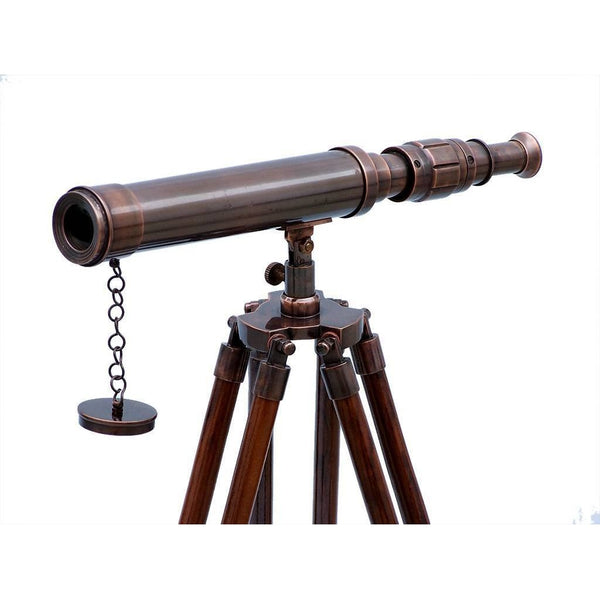 My Parlor Room - Standing Antique Copper Harbor Master Telescope 30 inches - My Parlor Room