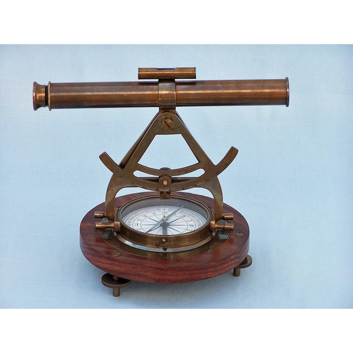 Handcrafted Nautical Decor - Antique Brass Alidade Compass 14 inches - My Parlor Room