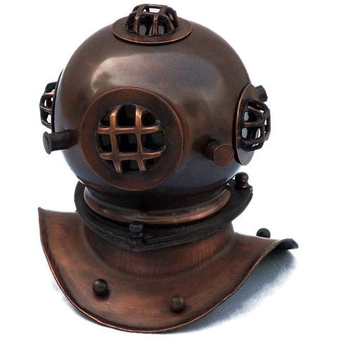 Handcrafted Nautical Decor - Antique Copper Decorative Divers Helmet 8 inches - My Parlor Room