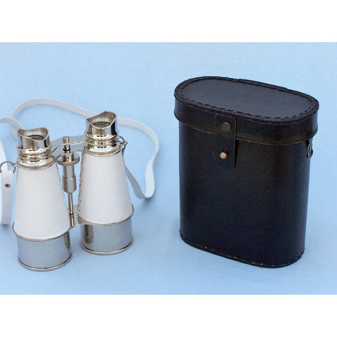 Handcrafted Nautical Decor - Admiral's Chrome Binoculars with White Leather Case 6 inch - My Parlor Room
