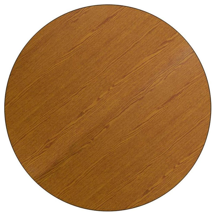 48'' Round Oak Thermal Laminate Activity Table - Adjustable Legs