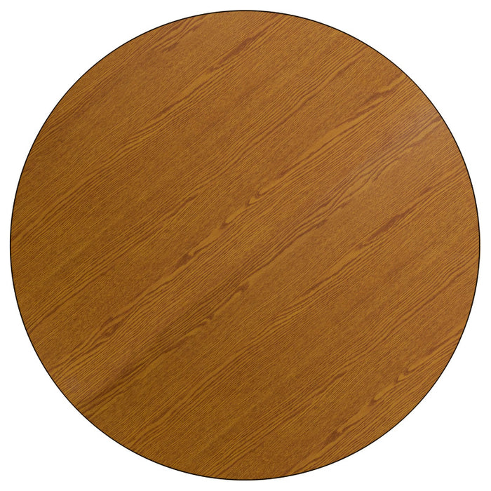 42'' Round Oak Thermal Laminate Activity Table - Adjustable Legs - My Parlor Room