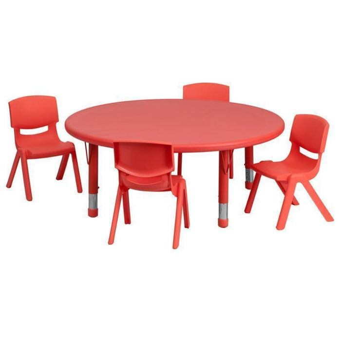 45'' Round Red Plastic Height Adjustable Activity Table Set With 4 Chairs - My Parlor Room