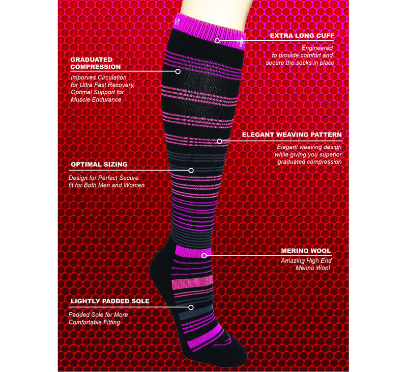 Circular  Merino Wool Graduated Compression Socks (20 - 30 mmhg)