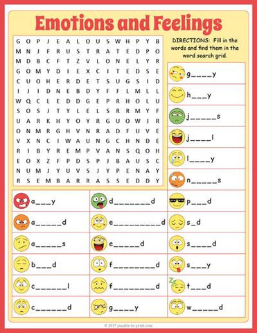 Feelings and Emotions Word Search & Fill-in Puzzle