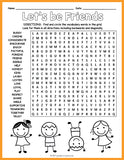 Friendship Word Search Puzzle