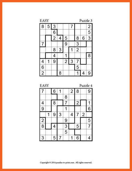 image relating to Jigsaw Sudoku Printable identified as Medium Printable Sudoku Puzzles