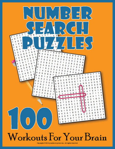 Number Search Puzzles, Cover
