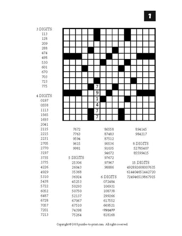 photograph relating to Printable Fillin Puzzles named Variety Fill Within just Puzzles, Quantity 2, PRINTABLE PDF