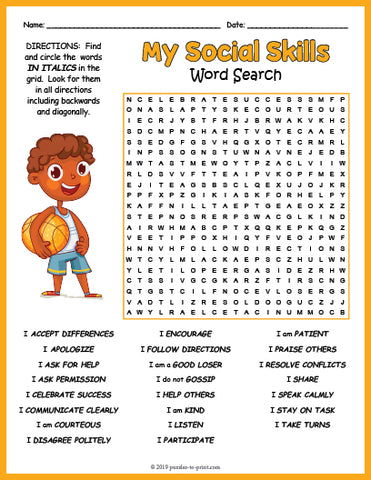 Social Skills Word Search Puzzle