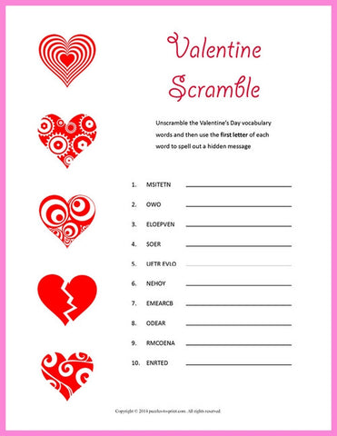 picture regarding Valentine Puzzles Printable named Valentine Puzzle Offer - PRINTABLE PDF