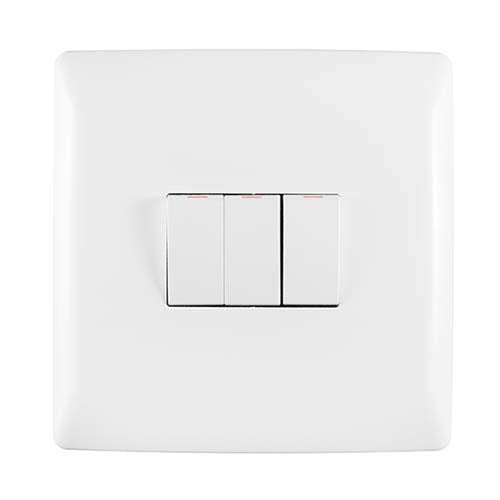 Crabtree Diamond 3 Lever Light Switch 100mm x 100mm