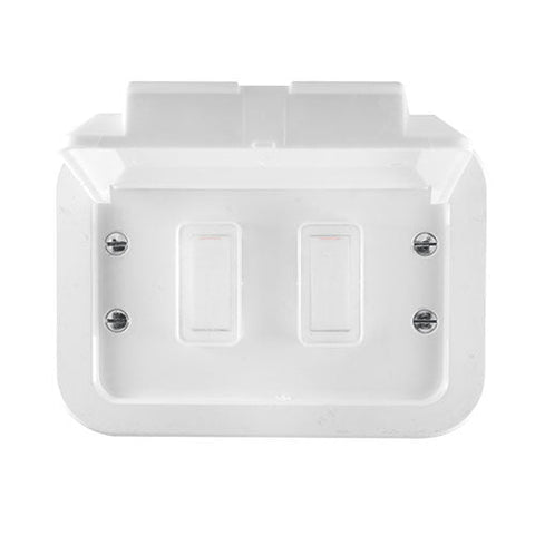Crabtree Industrial 2 Lever 1 Way Weatherproof Switch in Surface Box White