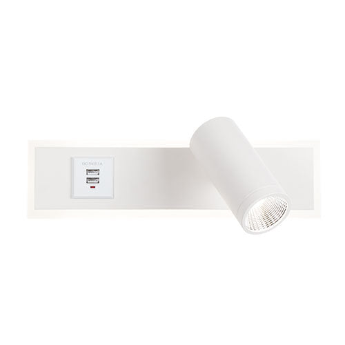 White Wall Light with 2 USB Ports