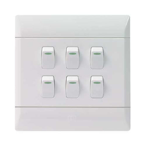 CBi PVC 6 Lever 1 Way Light Switch L127-P