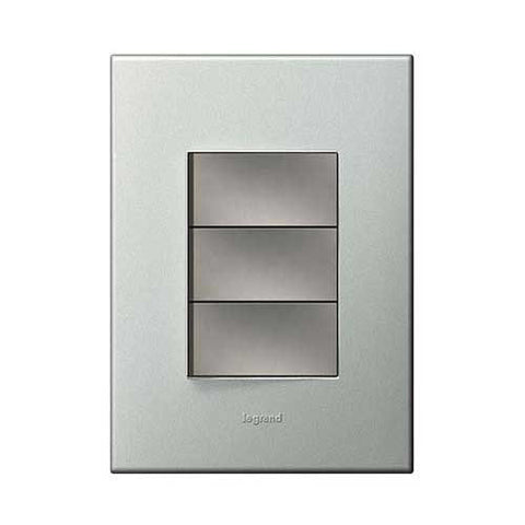 Legrand Arteor 1 Lever Dimmer Press + 2 Lever Switch - Pearl Aluminium P3DSMPA