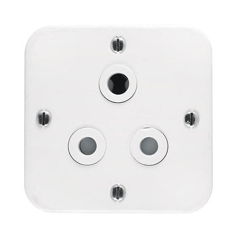 Crabtree Industrial Single 16A Socket in Surface Box White