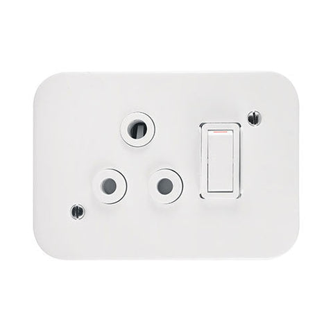 Crabtree Industrial Single 16A Switched Socket White