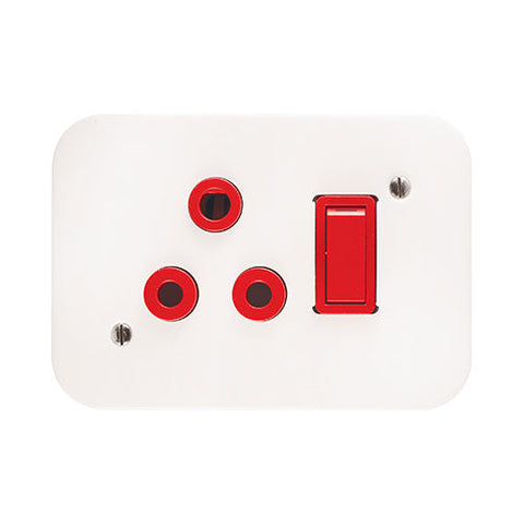 Crabtree Industrial Dedicated 16A Light Switched Socket Red